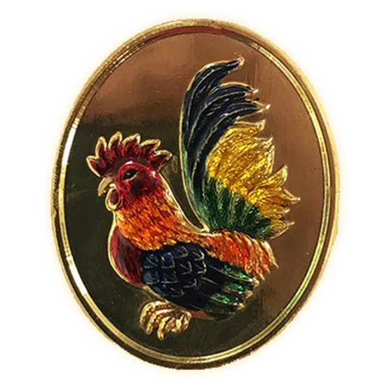 เหรียญไก่ฟ้าพญาเลี้ยง แซยิด 80 ปี หลวงปู่สรวง วัดถ้ำพรหมสวัสดิ์ เนื้อชุบทองลงยา ปี 56