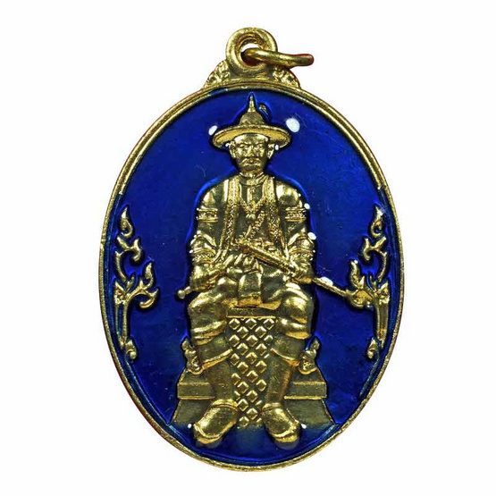 เหรียญสมเด็จพระเจ้าตากสิน หลังดวงตรามหาเดช เนื้อทองทิพย์ลงยาน้ำเงิน