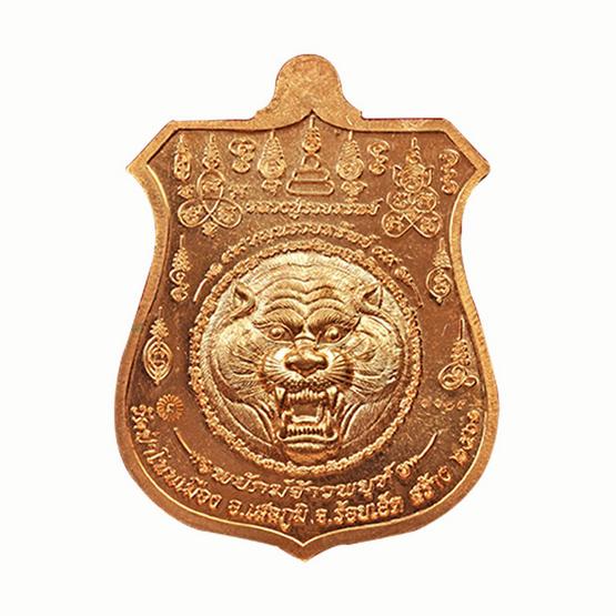 เหรียญพยัคฆ์จ้าวพยุห์ หลวงปู่หมุน เนื้อทองแดง ลงยาแดงจีวรเหลือง
