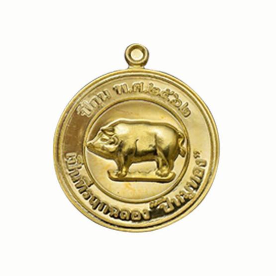 เหรียญหมูทองคำ หลวงพ่อรักษ์ อนาลโย เนื้อทองฝาบาตร