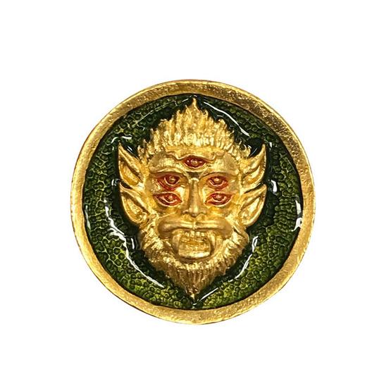 เหรียญสี่หูห้าตา เนื้อสัมฤทธิ์ชุบทอง ลงยาเขียว