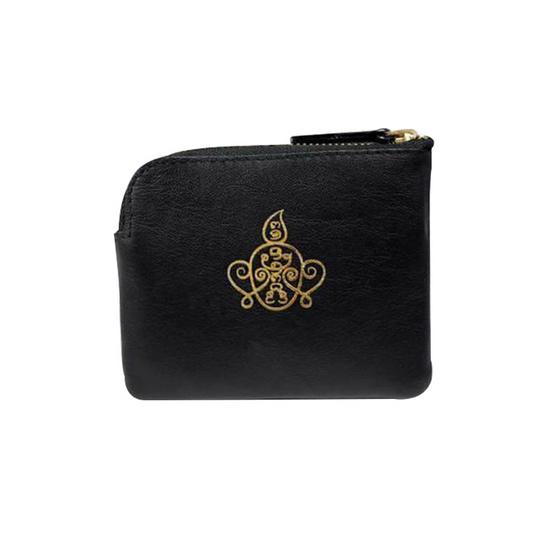 กระเป๋าใส่เหรียญ นะหน้าทอง หนังแท้ สีดำ