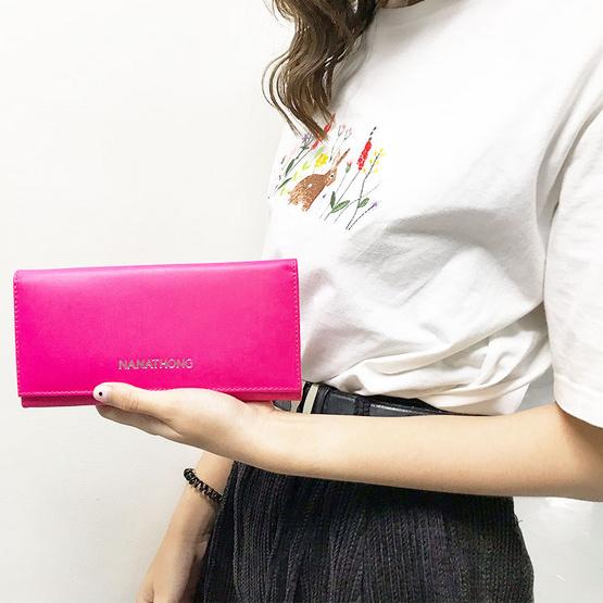 กระเป๋าสตางค์ นะหน้าทอง หนังแท้ สีชมพู