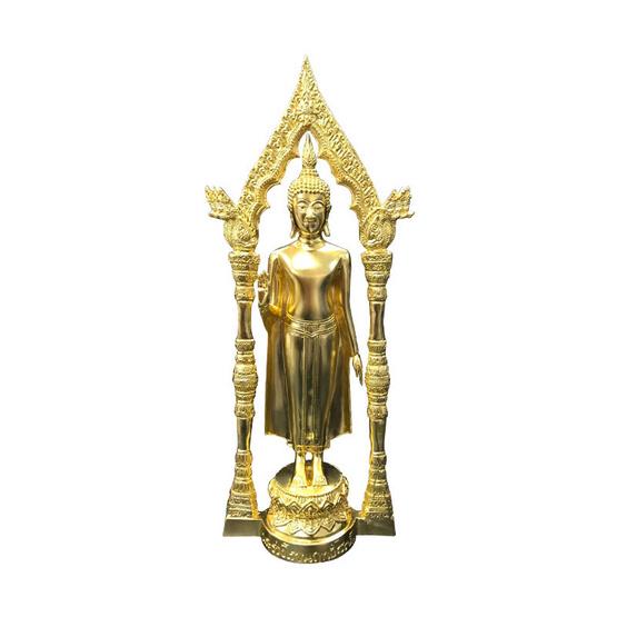 พระร่วงโรจนฤทธิ์ วัดพระปฐมเจดีย์ มีซุ้ม เนื้อทองเหลืองปิดทอง สูง 16 นิ้ว