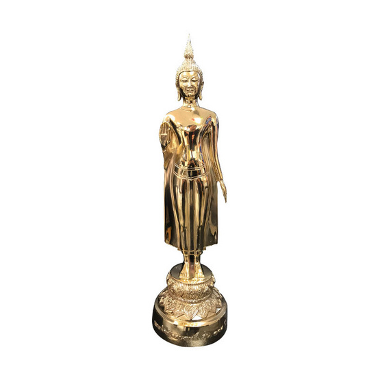 พระร่วงโรจนฤทธิ์ วัดพระปฐมเจดีย์ เนื้อทองเหลืองขัดเงา สูง 15.5 นิ้ว