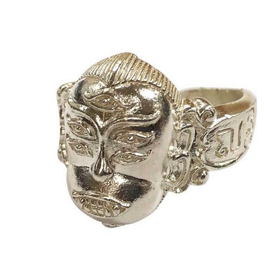 แหวนสี่หูห้าตา รุ่น นะปลดหนี้ เนื้อทองขาว อาจารย์สุบิน นะหน้าทอง