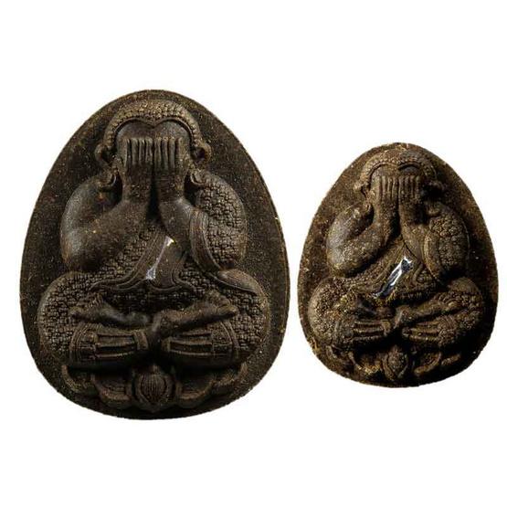 พระปิดตาเสาร์ ๕ มหาโภคทรัพย์ ชุดตะกรุดเงิน 2 องค์ เนื้อผงเกสร