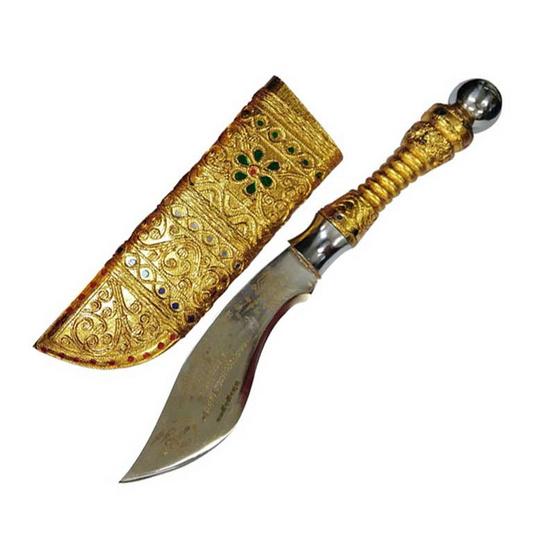 มีดตัดหวายลูกนิมิต ปิดทองเปลว ขนาดใบมีด7นิ้ว พร้อมฐานไม้