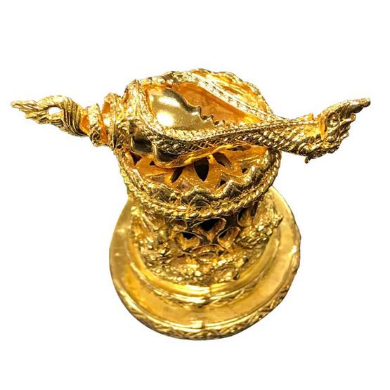 มหาสังข์ หัตถ์นารายณ์ บรอนซ์สำริดชุบทอง เลี่ยมพญานาคราช พร้อมฐานบรอนซ์สำริดชุบทอง