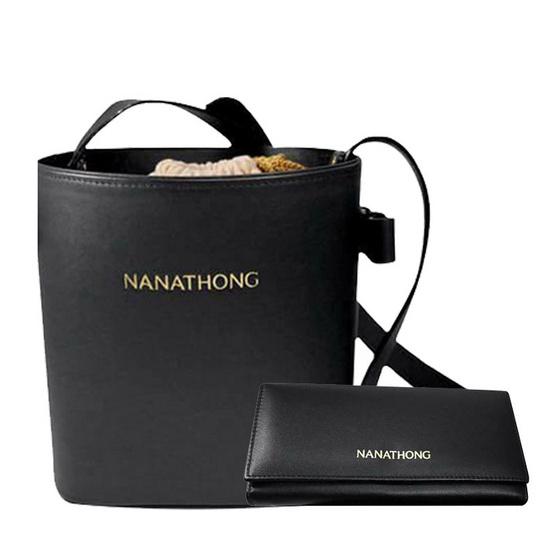 กระเป๋าสะพาย กระเป๋าสตางค์  นะหน้าทอง  หนังแท้ สีดำ