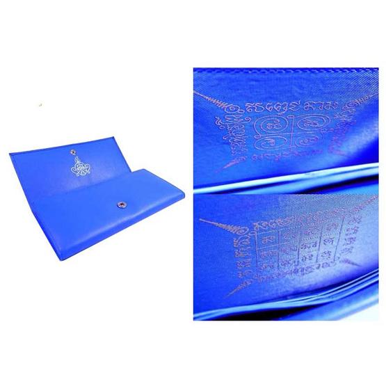กระเป๋าสะพาย กระเป๋าสตางค์  นะหน้าทอง  หนังแท้ สีน้ำเงิน