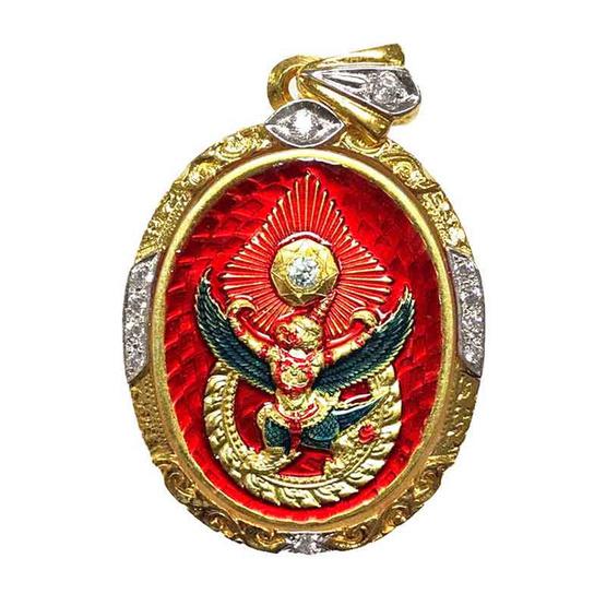 เหรียญดวงตรามหาเดช เนื้อกะไหล่ทองลงยาแดง เลี่ยมตลับไมครอนฝังเพชร