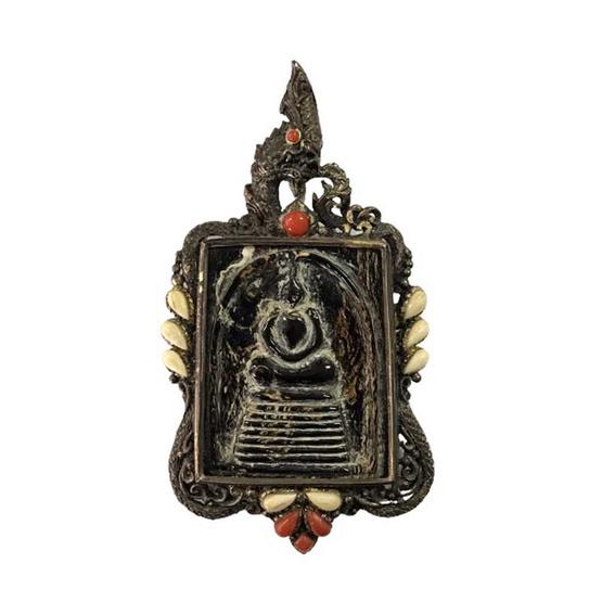 พระสมเด็จกัลปังหา เลี่ยมกรอบเงินแท้ แกะลายพญานาคราชปัดดำโบราณ