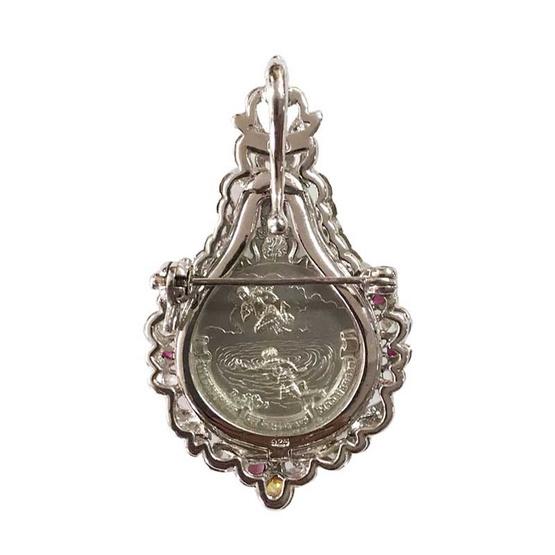 เหรียญพระมหาชนก เนื้อเงิน เลี่ยมเงินแท้ ฝังทับทิมเพชร