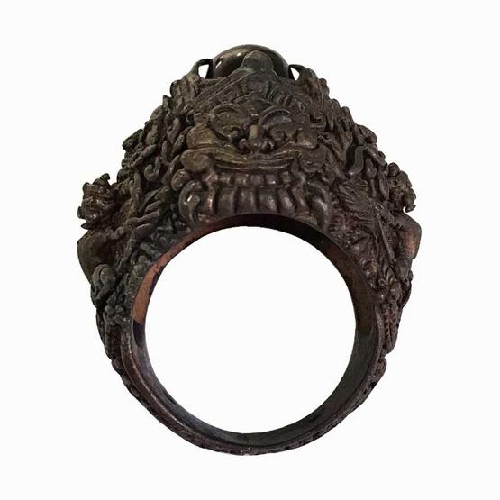 แหวนอสุรินทราหูทรงครุฑนาคราช ราหูรับทรัพย์ มหาอุจจ์ เนื้อนวโลหะ ขนาดไซส์เบอร์ 61