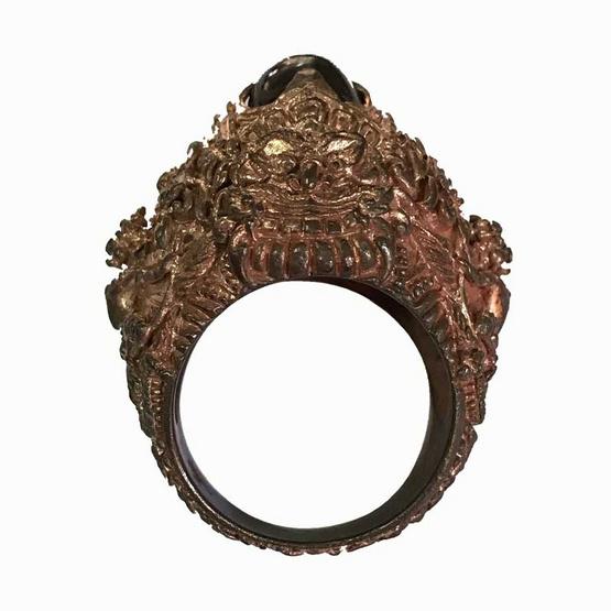 แหวนอสุรินทราหูทรงครุฑนาคราช ราหูรับทรัพย์ มหาอุจจ์ เนื้อนวโลหะ ขนาดไซส์เบอร์ 62