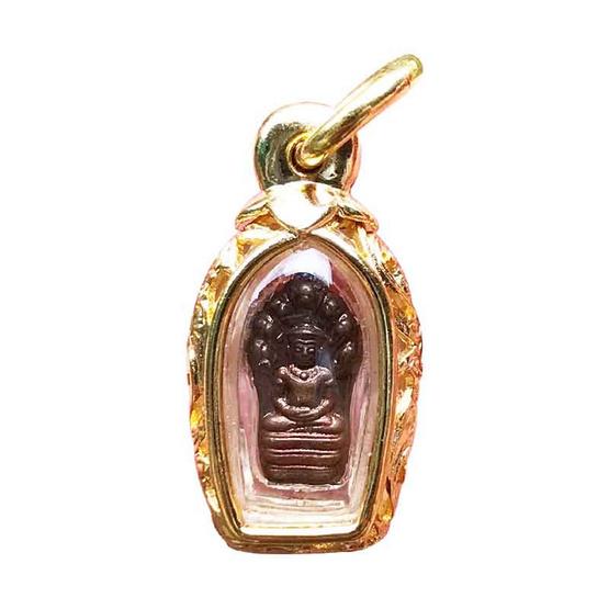 พระนาคปรกใบมะขาม หลวงพ่ออิฎฐ์ วัดจุฬามณี เนื้อทองแดง ปี 37 เลี่ยมกรอบสำริดบรอนซ์ชุบทองลายฉลุ