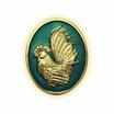 เหรียญไก่ฟ้าพญาเลี้ยง กะไหล่ทองลงยาฟ้า พิมพ์เล็ก